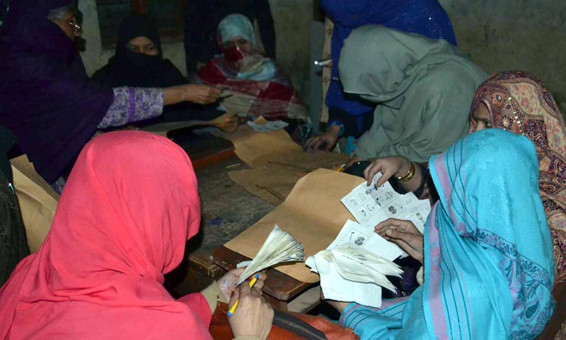 Polling officials count the vote after poling of Local Bodies Elections. — Photo by INP