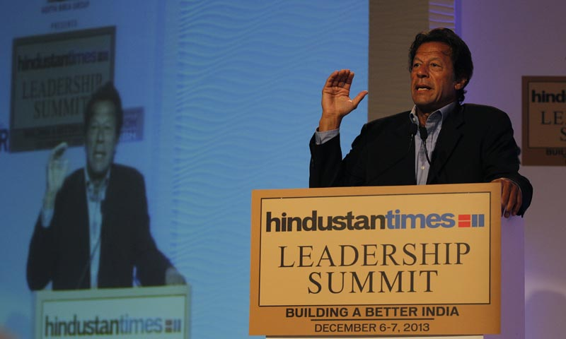 Former cricketer of Pakistan and founder of the Tehrik-i-Insaf party Imran Khan  speaks during the Hindustan Times (HT) Leadership Summit 2013 in New Delhi, India, Saturday, Dec. 7, 2013.  — Photo by AP