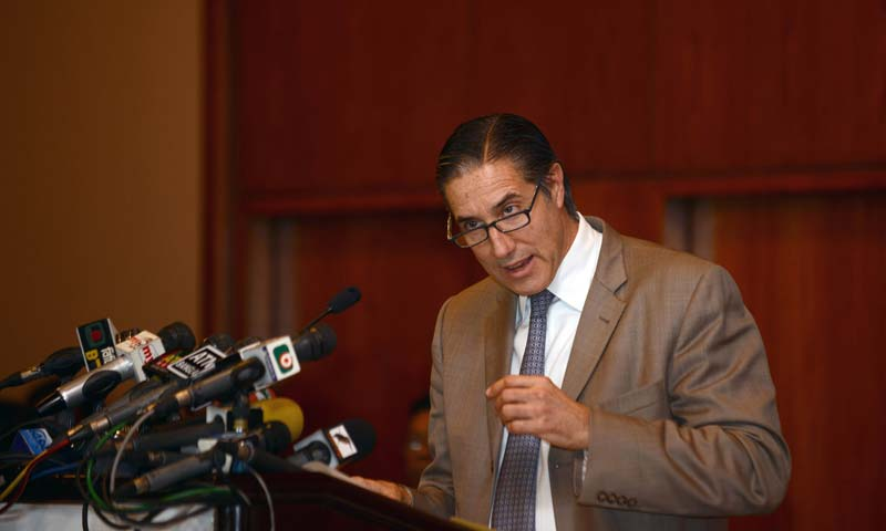 Visiting UN Assistant Secretary-General for Political Affairs Oscar Fernandez-Taranco speaks during a press conference on Dhaka. -AFP Photo