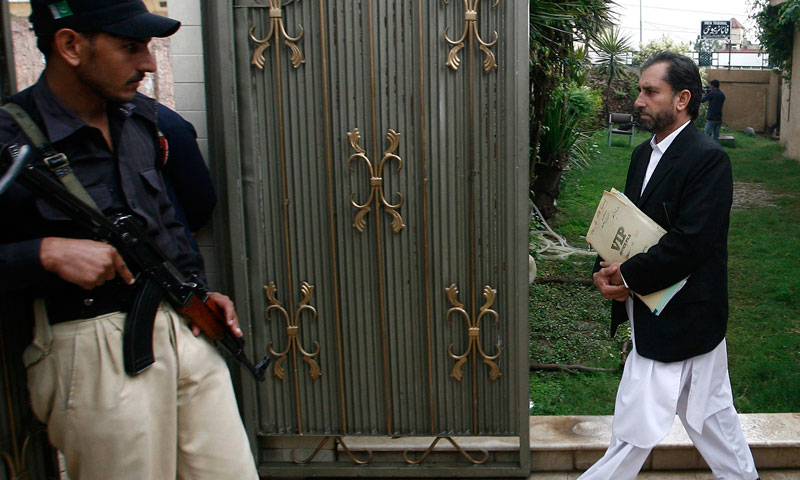 Samiullah Afridi leaves the court building in Peshawar October 30, 2013. – Reuters Photo