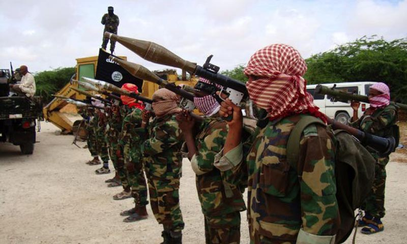 Militants belonging to Somalia's Al-Qaeda-inspired Al Shabaab Islamists stand in formation during a show of force in Somalia's capital Mogadishu in 2010. — Photo AFP