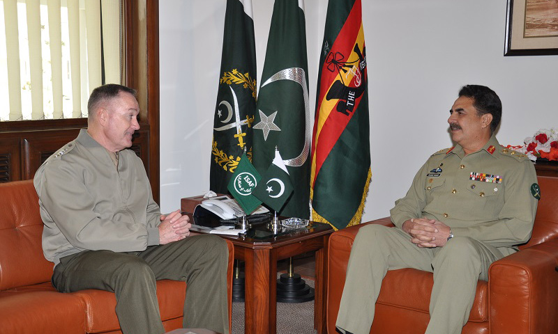 Nato's International Security Assistance Force (Isaf) commander in Afghanistan General Joseph Dunford in a meeting with Pakistan Army Chief General Raheel Sharif during a visit of the Pakistan army's General Headquarters (GHQ).  — Photo courtesy of ISPR
