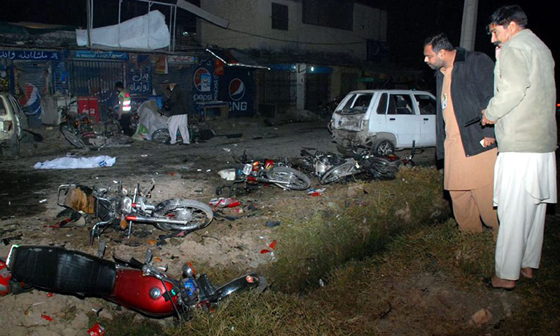 The site of the suicide bomb attack outside an Imambargah in Rawalpindi. -INP Photo