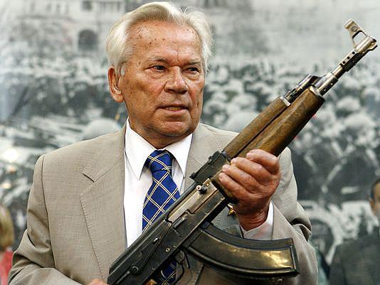 Mikhail Kalashnikov with an AK47