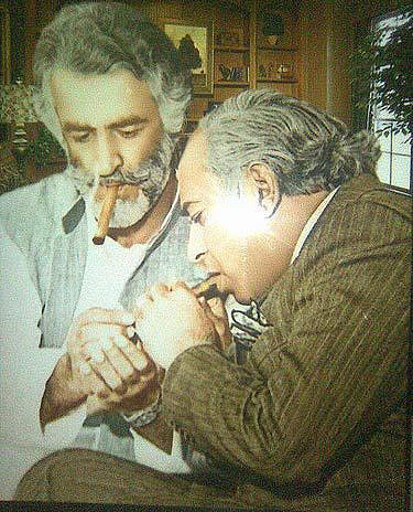 Z A Bhutto shares a cigar with Baloch leader Akbar Bugti in 1974. Bugti supported the Bhutto regime's action against Baloch insurgents. However, after a decade Bugti himself became a staunch Baloch separatist and was assassinated by the military in 2006.