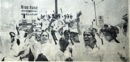The spark: Female college students in Karachi raise slogans against the government and Afghan refugees in 1985. They were protesting against the killing of a Mohajir female student who was run over by a bus being driven by a Pashtun. The accident led to major riots between the two communities in Karachi.