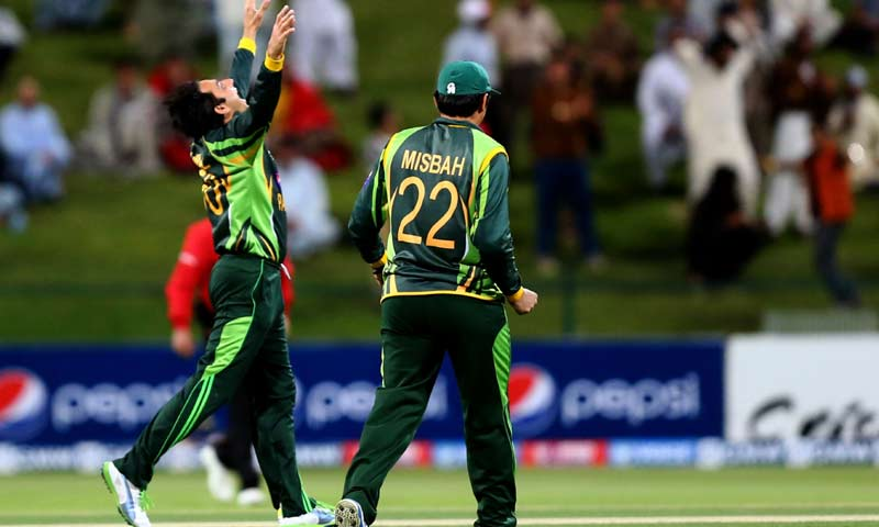 Bowler Saeed Ajmal of Pakistan jubilates after dismissing Angelo Mathews of Sri Lanka during the fourth One Day International cricket match between Sri Lanka and Pakistan in Abu Dhabi. -AFP Photo