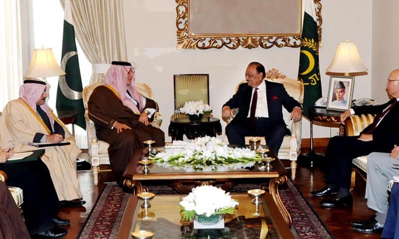 President Mamnoon Hussain in a meeting with Prince Saud Al-Faisal bin Abdulaziz Al-Saud, Foreign Minister of the Kingdom of Saudi Arabia at the Aiwan-e-Sadr. — Photo by INP