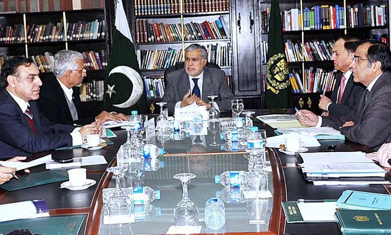 Federal Minister for Finance, Senator Muhammad Ishaq Dar chairing a meeting to review the Economy at the Ministry of Finance. — Photo by APP