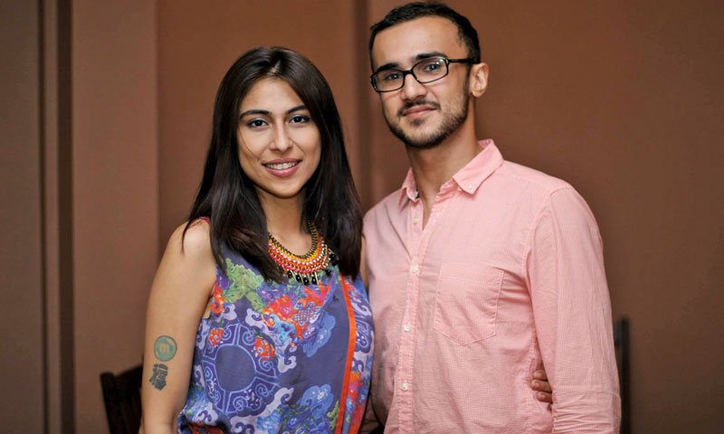 With wife Meesha Shafi.