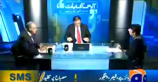 Misbah being interviewed by Najam Sethi and Muneeb Farooq on Sethi's popular talk show, 'Aapas Ki Baat.'
