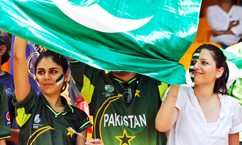 Pakistani cricket fans at an ODI in the UAE.