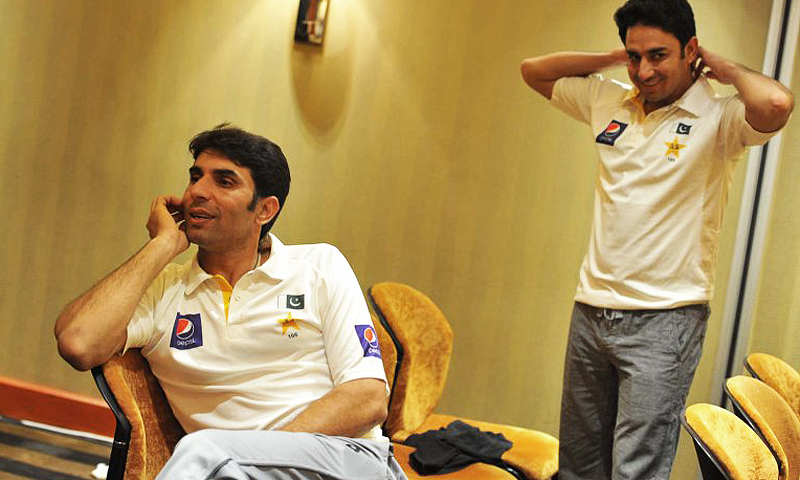 Misbah with one of his main strike bowlers, Saeed Ajmal in a hotel room. Ajmal, who today is considered to be one of best off-spinners in the world, was discovered by Misbah in early 2000s. Ajmal and Hafeez are considered to be Misbah's closest colleagues in the team.