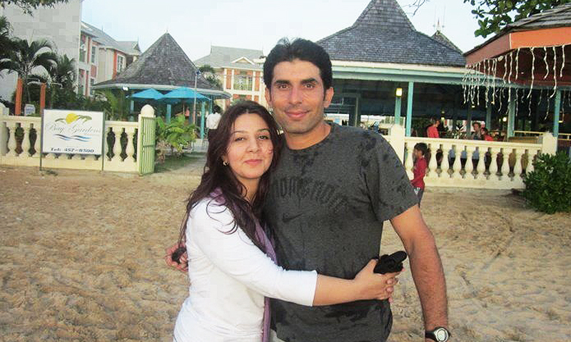 Misbah with wife.
