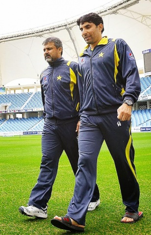 With manager, Moin Khan in Dubai. Khan is being tipped to become the next coach after the departure of Dav Whatmore.