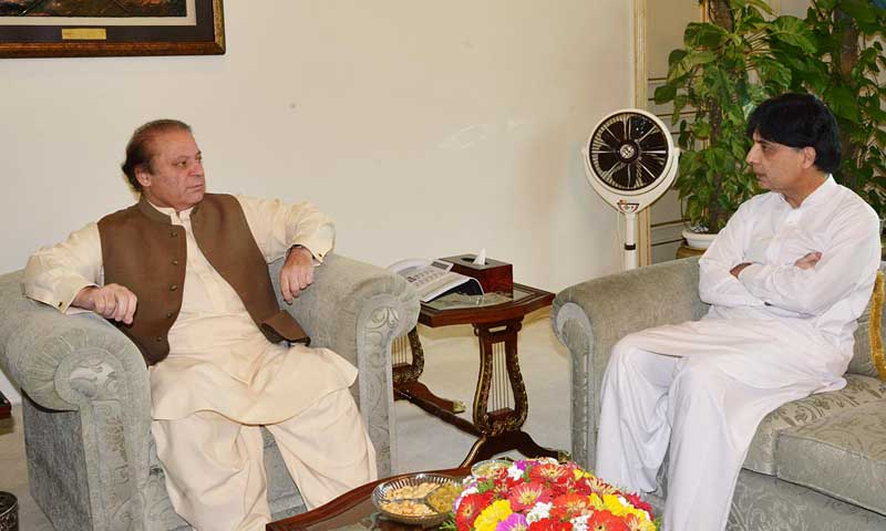 Prime Minister Nawaz Sharif and Interior Minister Chaudhry Nisar Ali Khan. — File photo