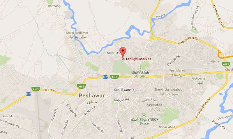 Map shows location of the Tablighi Markaz on Pajaggi Road in Peshawar, the capital of Khyber Pakhtunkhwa province.—File Photo