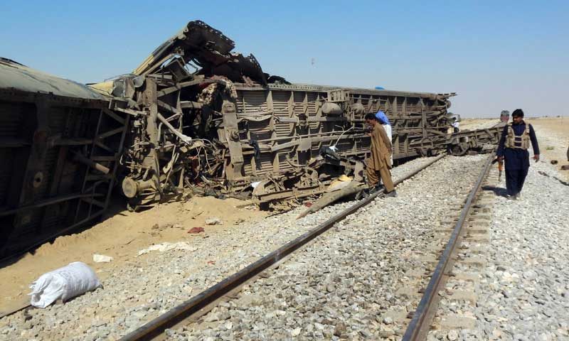 Karachi bound Kushal Khattak Express train derailed as result of a blast on rail track near Umer Kot, Rajanpur, Friday morning, which caused death of three persons, besides causing injuries to over two dozens passengers. — File Photo