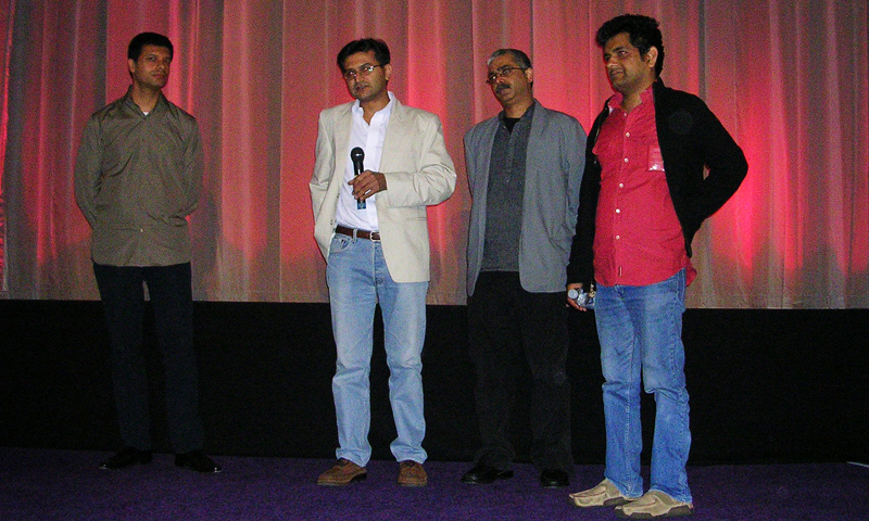 The author with Mohammad Hanif and Musadiq at a screening of Raat Chali Hai Jhoom Ke at the NFT in London in 2005.