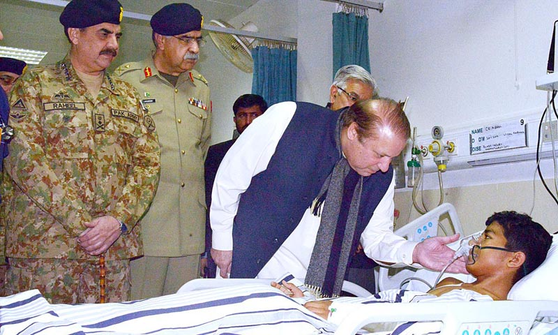 PM, COAS visit CMH to meet people injured in suicide attack