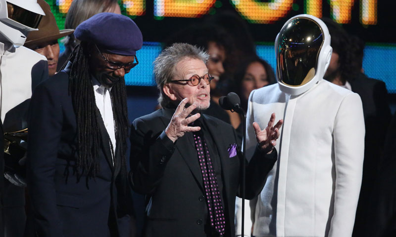 Photo of Nile Rodgers and Paul Williams standing with Daft Punk at the Grammy Awards