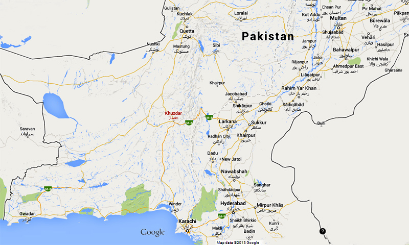 Map shows location of Khuzdar district in Balochistan province.—Google maps image