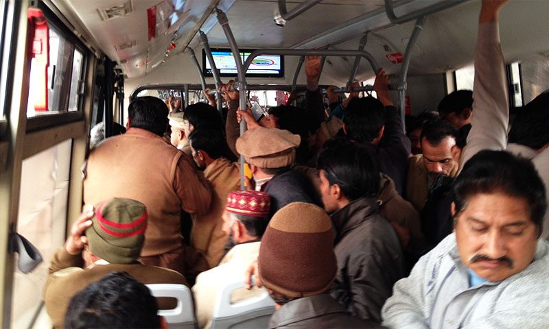 The Lahore BRT filled to capacity on January 14 (12 Rabiul Awwal) at 11:00am heading to Gajjumata from MAO College. -Source: Murtaza Haider.