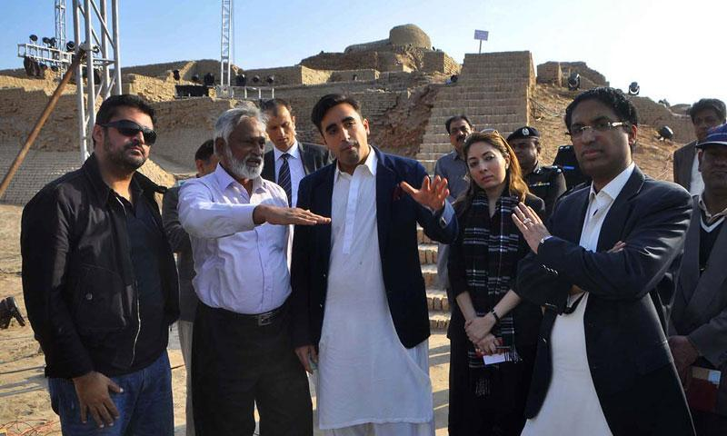 In this Thursday, Jan 30, 2014 photo provided by Bilawal House, Bilawal Bhutto Zardari, third from left, visits the site of Sindh Cultural Festival in ruins of Mohenjodaro.—AP Photo