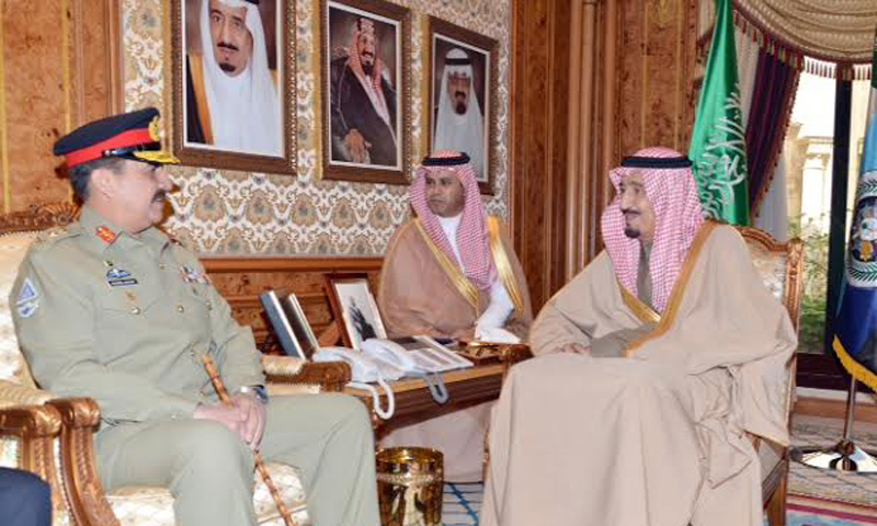 Army chief General Raheel Sharif meets with Saudi Crown Prince Salman Bin Abdulaziz Al Saud on Wednesday. – Photo courtesy: ISPR