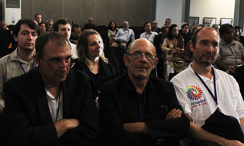 From Left to Right eminent French paleontologists, ( left to right) Didier Merle, Jean Loup Welcomme and Gregoire Metais.
