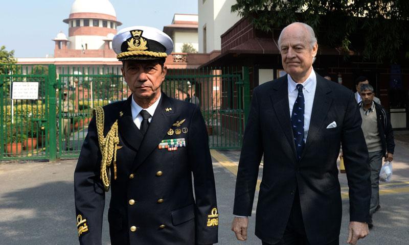Italian special envoy Staffan de Mistura (right) and military attache Franco Faure leave the Supreme Court in New Delhi. -AFP Photo