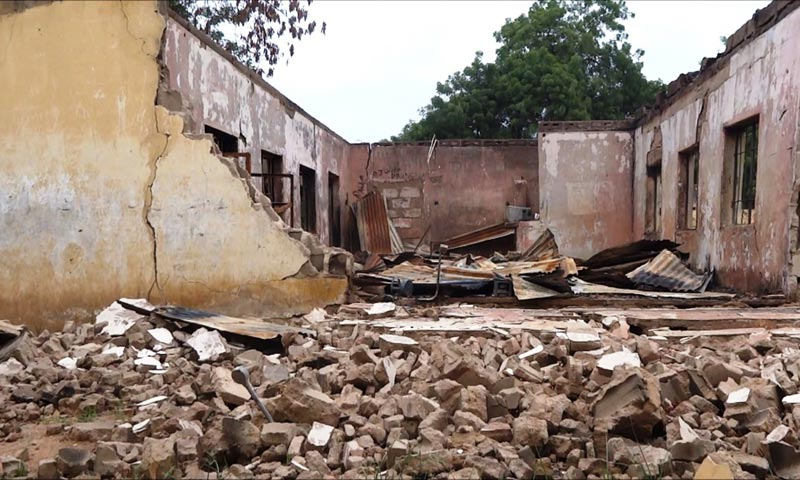 This picture taken on August 6, 2013 shows a blown up students hostel in the Government Secondary School of Mamudo, in the northeastern Nigerian Yobe state, after Boko Haram gunmen launched gun and explosives attacks on student hostels. -AP Photo