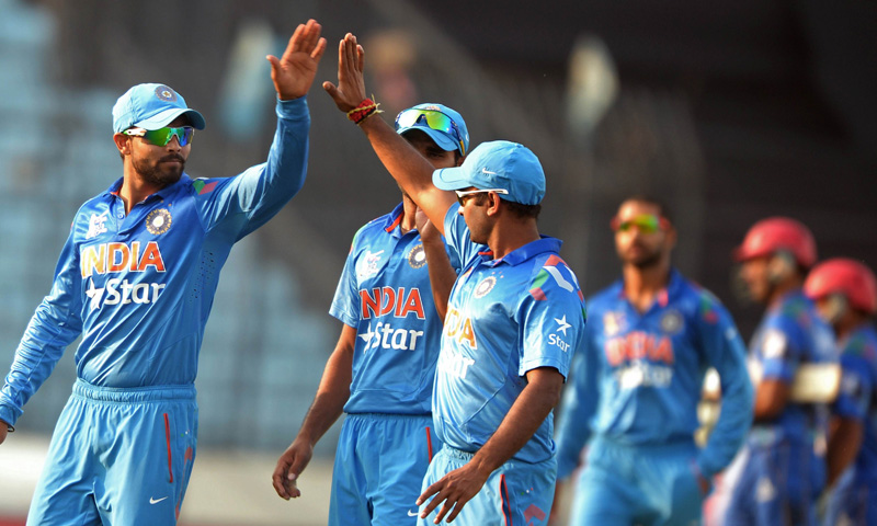 Indian players celebrate. — File
