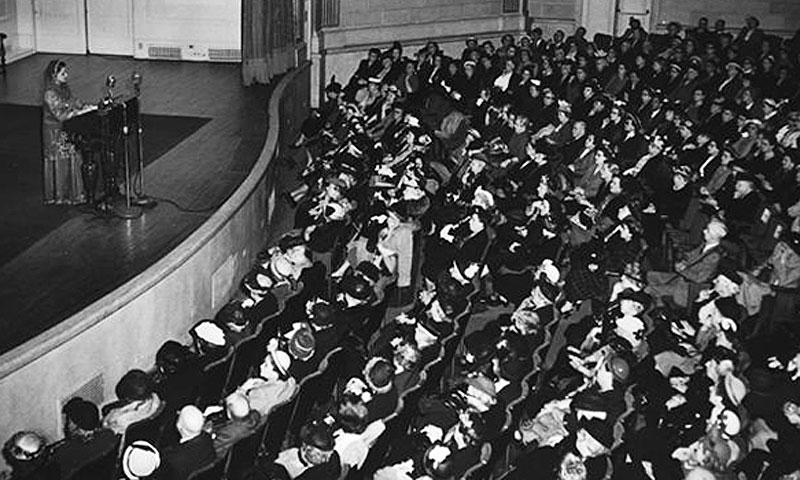 "Begum Liaquat Ali Khan, talks on ""Women of Pakistan"" at Town Hall, in New York, New York. -Photo Courtesy: Truman Library."