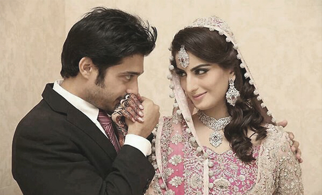 A photo of Babar and Sana Khan from their wedding in December 2013