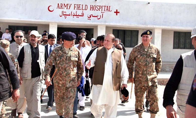 Prime Minister Nawaz Sharif during a visit at Army Field Hospital.   — Photo by APP