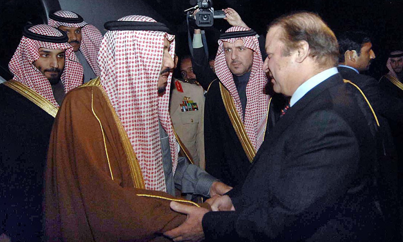 Photo from February 15, 2014 shows Crown Prince of Saudi Arabia, Prince Salman Bin Abdulaziz Al-Saud being received by Prime Minister Nawaz Sharif upon his arrival in Pakistan for a three-day official visit.—APP photo