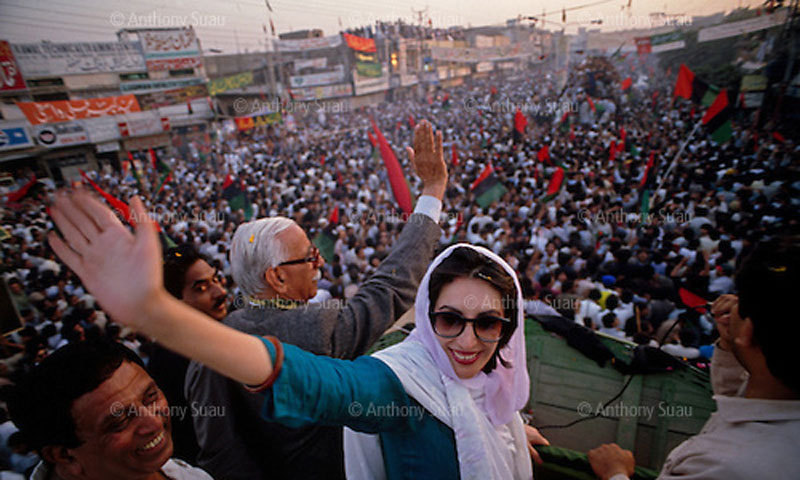 Benazir Bhutto at a rally just before the 1988 elections.