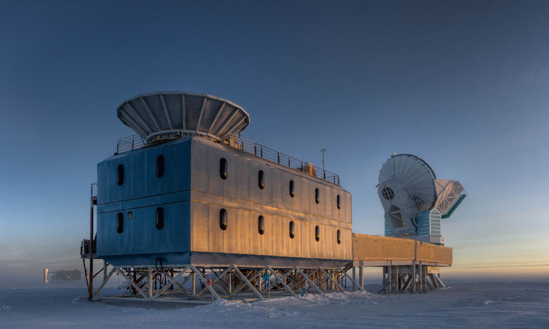 This undated handout photo courtesy of Steffen Richter shows the Dark Sector Lab (DSL), located 3/4 of a mile from the Geographic South Pole, which houses the BICEP2 telescope (left) and the South Pole Telescope (right). — AFP Photo