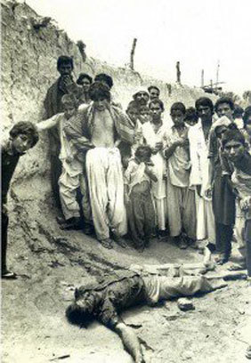 MRD Movement 1983: A protester lies dead in a village near Dadu, killed and thrown there by the security forces.