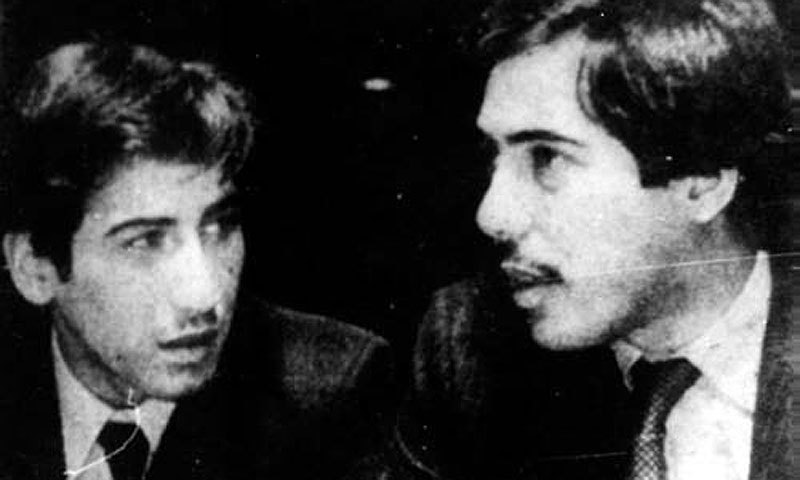 Shahnawaz Bhutto (left) with Murtaza in 1979. Shanawaz was allegedly assassinated by Zia's agents in 1985 and Murtaza was killed in 1996 in a controversial police raid on his motorcade.