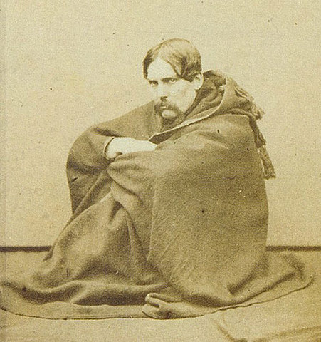 British author, traveller and Orientalist, Sir Richard Burton shown here in a cloak in the town of Thatta in Sindh (1859)