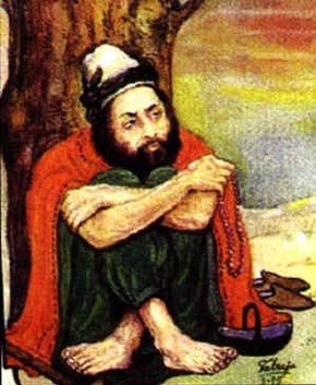 A painting of 18th century Sufi saint and Sindhi poet, Shah Abdul Latif. GM Syed popularised him as the 'patron saint of Sindh.'