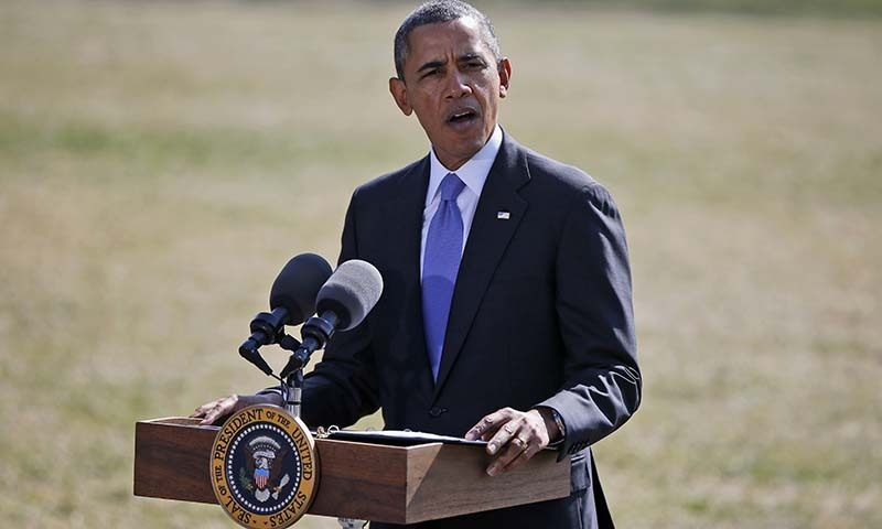 President Barack Obama makes a statement on Ukraine, on the South Lawn at the White House. -AP Photo