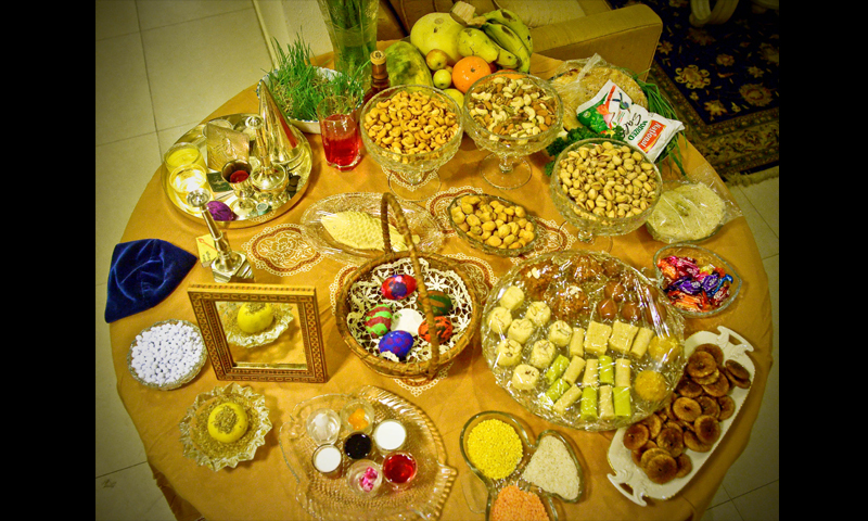 A traditional Nauroz table laden with food symbolising new life and nature's bounty.—Fahim Siddiqi / White Star
