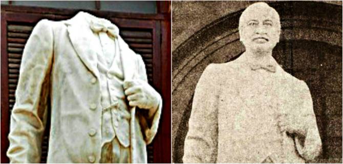 The statue of Harchand Rai Vishandas in its original form [right] and how it is now [left]. –Photo courtesy of Khadim Hussain Soomro