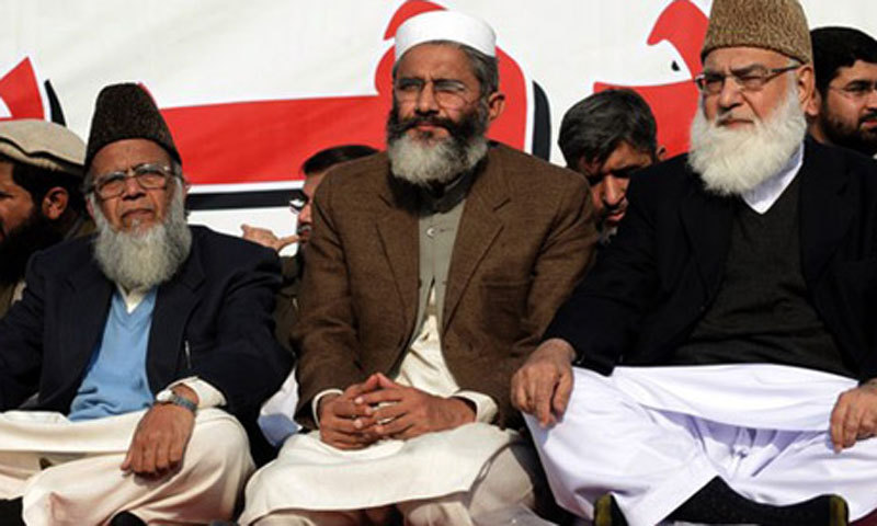 Newly elected Ameer of the JI Sirajul Haq(C) is seen in this file photo along with former cheifs of the party, Syed Munawar Hassan (L) and late Qazi Hussain Ahmed (R). — File photo