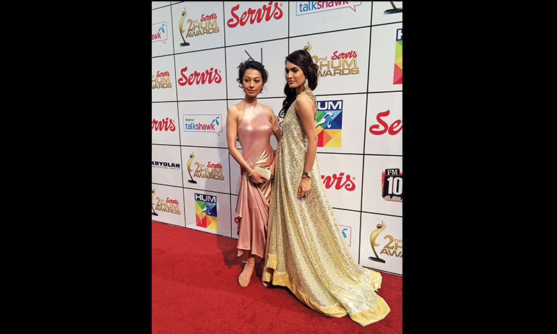 Rubya Chaudhry and Nadia Hussain in outfits designed by the latter.