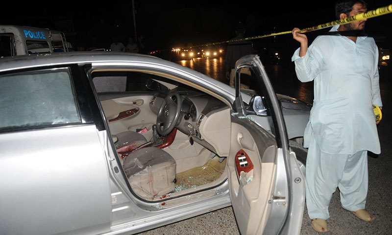 Dr Haider Raza's car is seen outside the hospital in Karachi on Wednesday. – Photo by WhiteStar