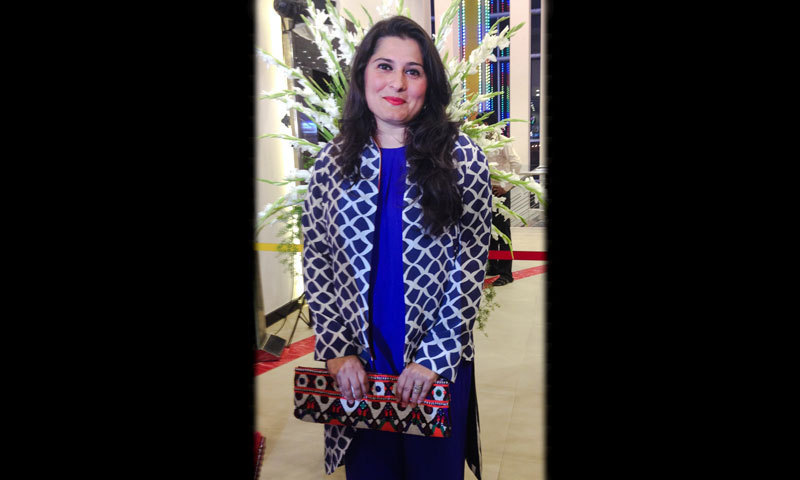 Academy Award winner Sharmeen Obaid-Chinoy in a Maheen Karim pant suit and a Sania Maskatiya jacket. – Photo by Madeeha Syed